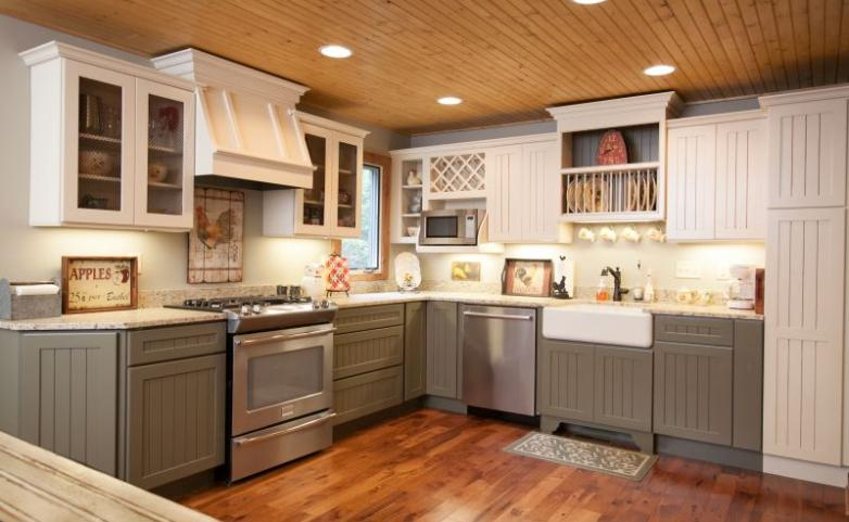 <span>Cummings Cove Kitchen Remodel:</span> Two tone painted kitchen cabinets.