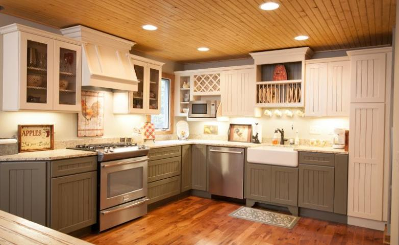 <span>Hendersonville Kitchen Remodel:</span> Painted cabinets with farm sink.