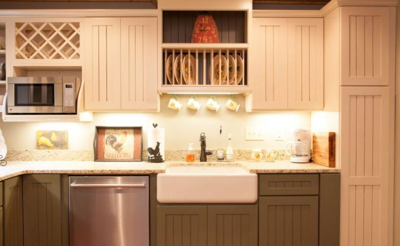 <span>Hendersonville Kitchen Remodel:</span> Painted bead board cabinets.